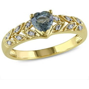 5/8 Carat T.G.W. Green Sapphire and Diamond-Accent 10kt Yellow Gold Heart Ring