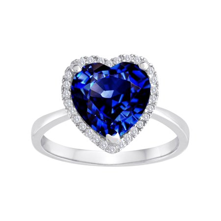Star K Heart Shape Simulated Sapphire Halo Ring in Sterling Silver Size