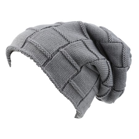 Sakkas Volc Long Tall Pleated Faux Fur Shearling Lined Unisex Winter Hat Beanie - Grey - OS