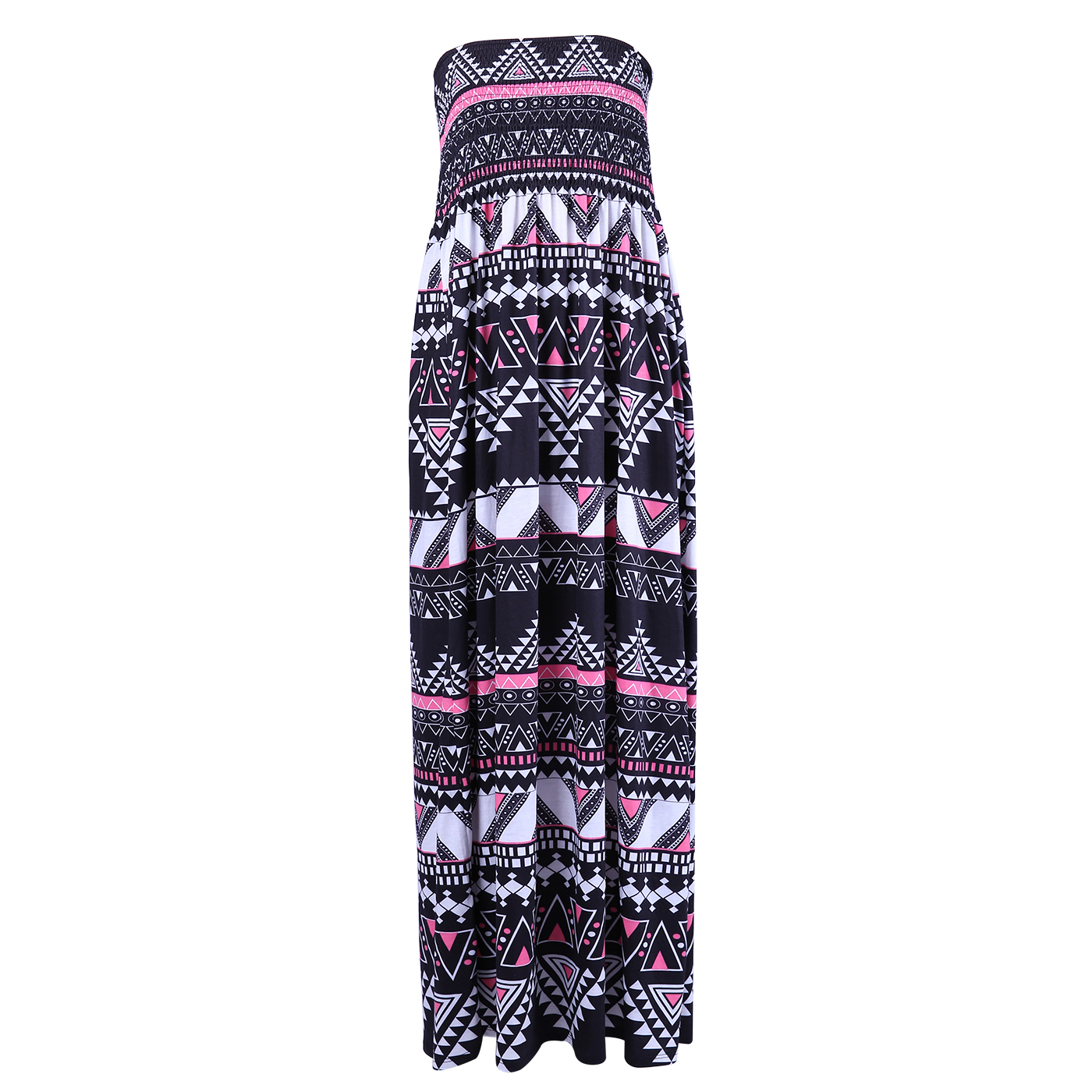 HDE Women\'s Strapless Maxi Dress Plus Size Tube Top Long Skirt Sundress  Cover Up (Pink Black Tribal, 4X)