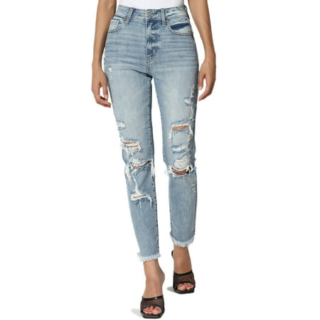 TheMogan Women's Tobi High Rise Distressed Relaxed Tapered Cropped Leg Mom Jeans