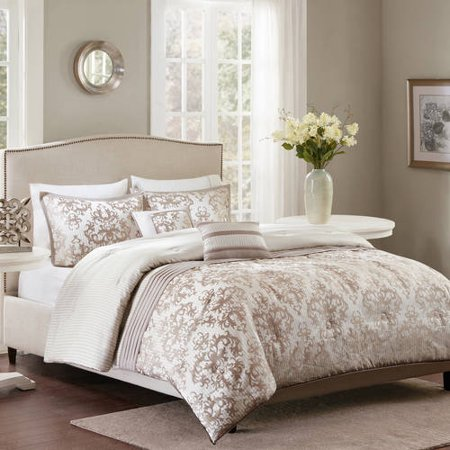 King comforter bedding set cream champagne damask jacquard luxury 5 pieces ebay for Better homes and gardens bed in a bag