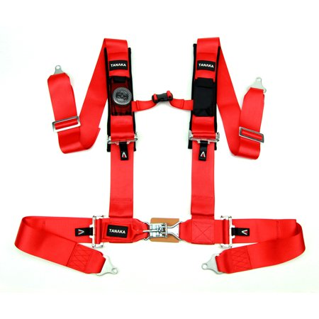 Tanaka Latch and Link 4-Point Safety Harness Set with Ultra Comfort Heavy Duty Shoulder Pads and Utility Pockets (for one seat) - Takata Racing Harness