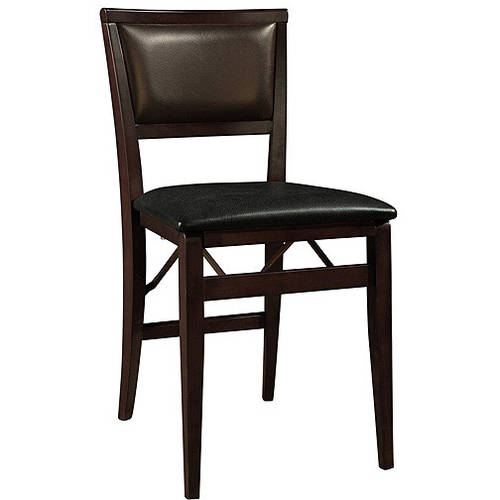 Linon Keira Padded Back Folding Chairs, Set of 2, Espresso