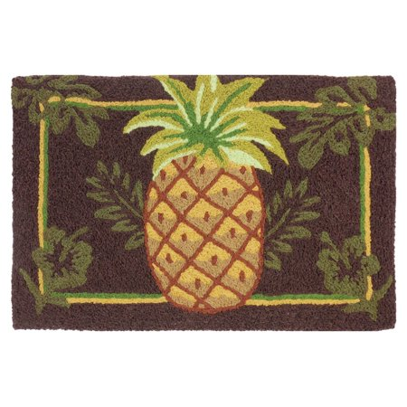 Welcoming Pretty Pineapple On Brown 33 X 21 Inch Area