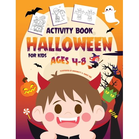 Halloween Learning Printables (Halloween Activity Book for Kids Ages 4-8: A Fun Kid Workbook Game For Learning, Coloring, Dot To Dot, Mazes, Word Search and More!)