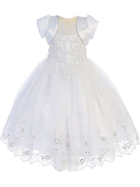 6dc90c473c3 Product Image Angels Garment Little Girls White Sequin Bead Detail Flower  Girl Dress 2-6