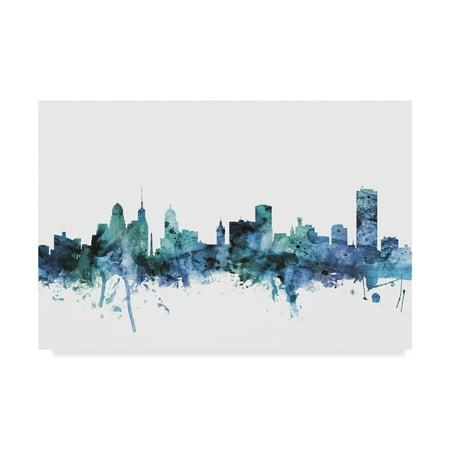 Trademark Fine Art 'Buffalo New York Blue Teal Skyline' Canvas Art by Michael - Buffalo New York Halloween Events