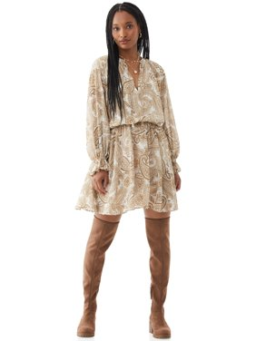 Scoop Women's Printed Long Sleeve Dress