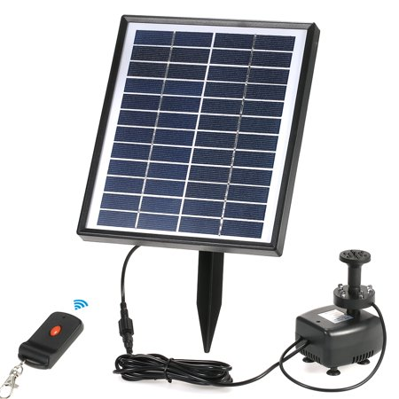 Anself 12V 5W Solar Power Brushless Water Pump Built-in Storage Battery Remote Control Submersible LED Pump Fountain for Garden