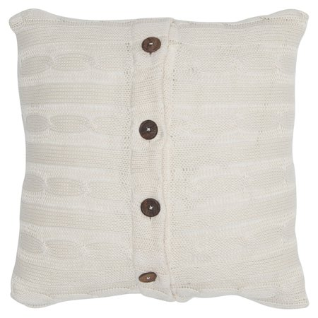 Rizzy Home Cable Knit Buttoned Back Cotton Decorative Throw Pillow, 18u0022 x 18u0022, Cream