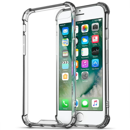 iPhone 7 Case (Black) - Crystal Clear Soft TPU Protective Rugged Protection Anti-Slip Grip Shockproof Corner Bumper Scratch Resistant Back Raised Bezels Slim Fit Cover For Apple iPhone 7 2016