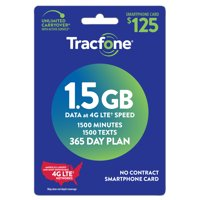 Tracfone $125 365 Day Plan, 1500 MIN/ 1500 TXT/ 1.5 GB DATA (Email Delivery)