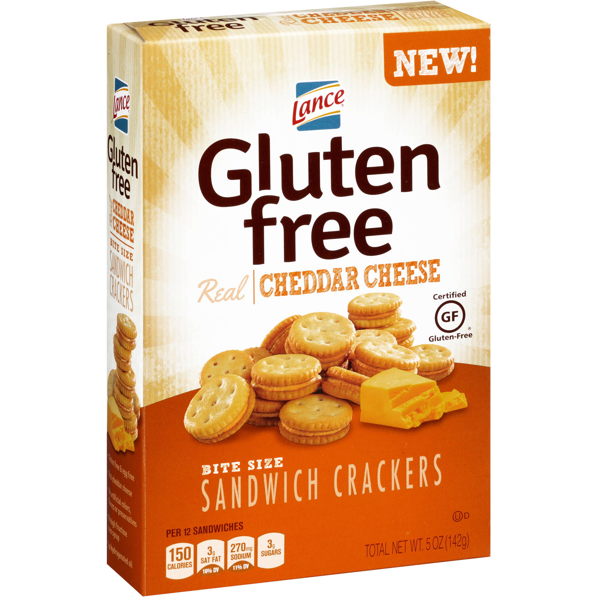 Lance Gluten Free Cheddar Cheese Bite Size Sandwich Crackers, 5 oz