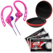 JVC HA-ECX20 Inner Ear Headphones (Pink) with Case & 3 Microfiber Cloths