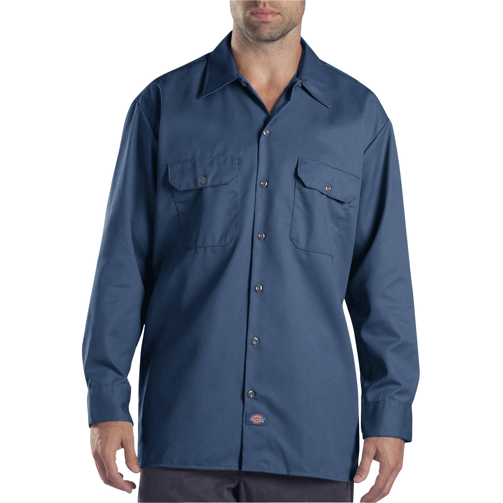 Men\'s Slim Fit Long Sleeve Solid Poplin Dress Shirt - Walmart.com