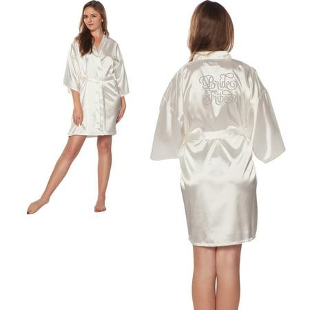Bride Tribe Silver Embroidered Wedding Bathrobe Satin Robes - Mcarthur Embroidered Robe