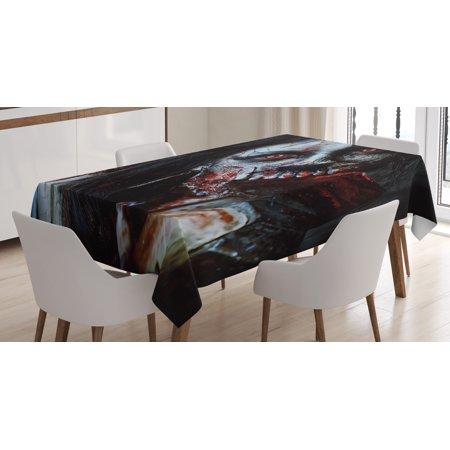 Zombie Decor Tablecloth, Scary Dead Woman with Bloody Axe Evil Fantasy Gothic Mystery Halloween Picture, Rectangular Table Cover for Dining Room Kitchen, 52 X 70 Inches, Multicolor, by - Scary Halloween Pics To Color