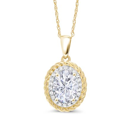 14K Yellow Gold Pendant Forever One GHI Oval Created Moissanite and Diamond