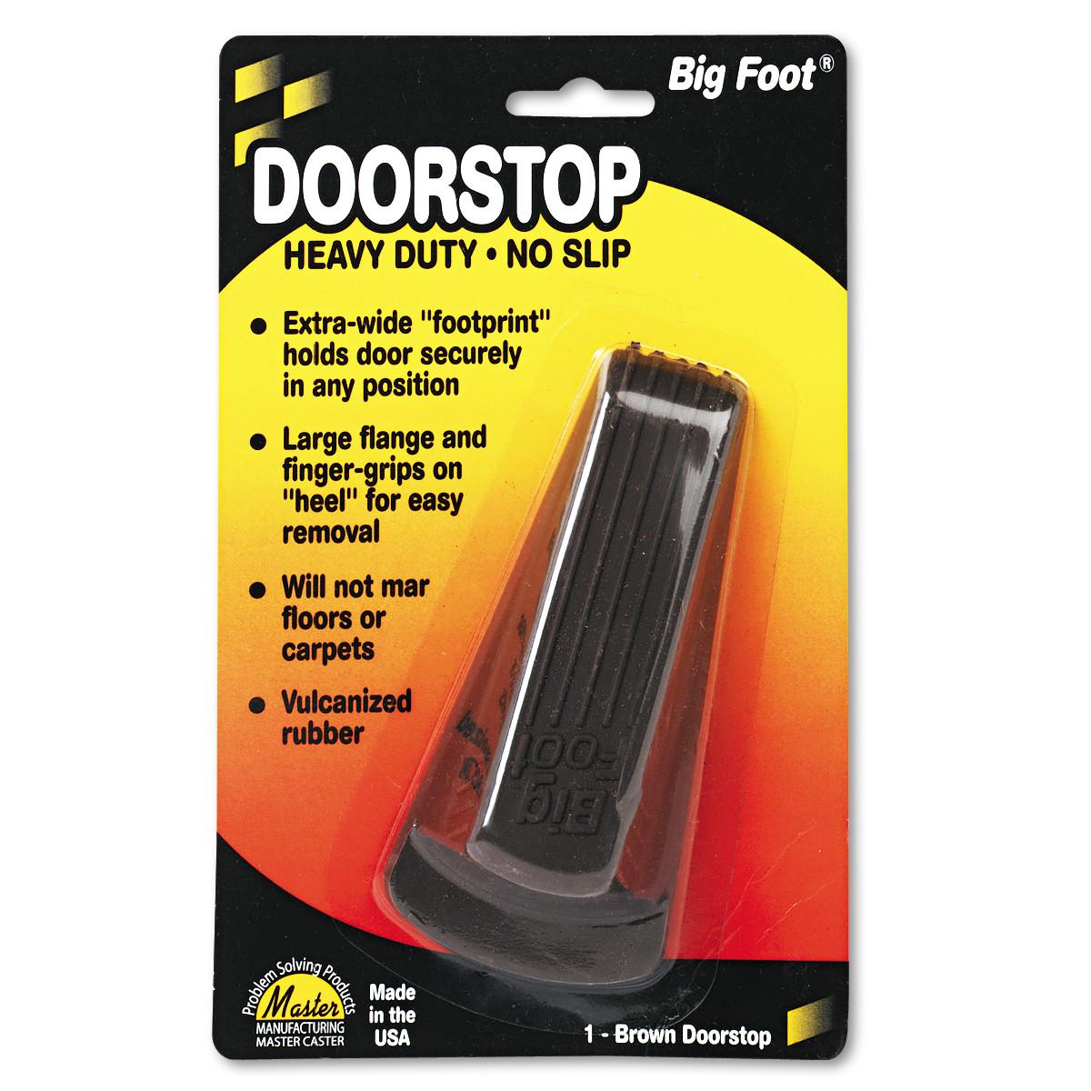 Master Caster Big Foot Doorstop, No Slip Rubber Wedge, 2 1/4w x 4 3/4d x 1 1/4h, Brown