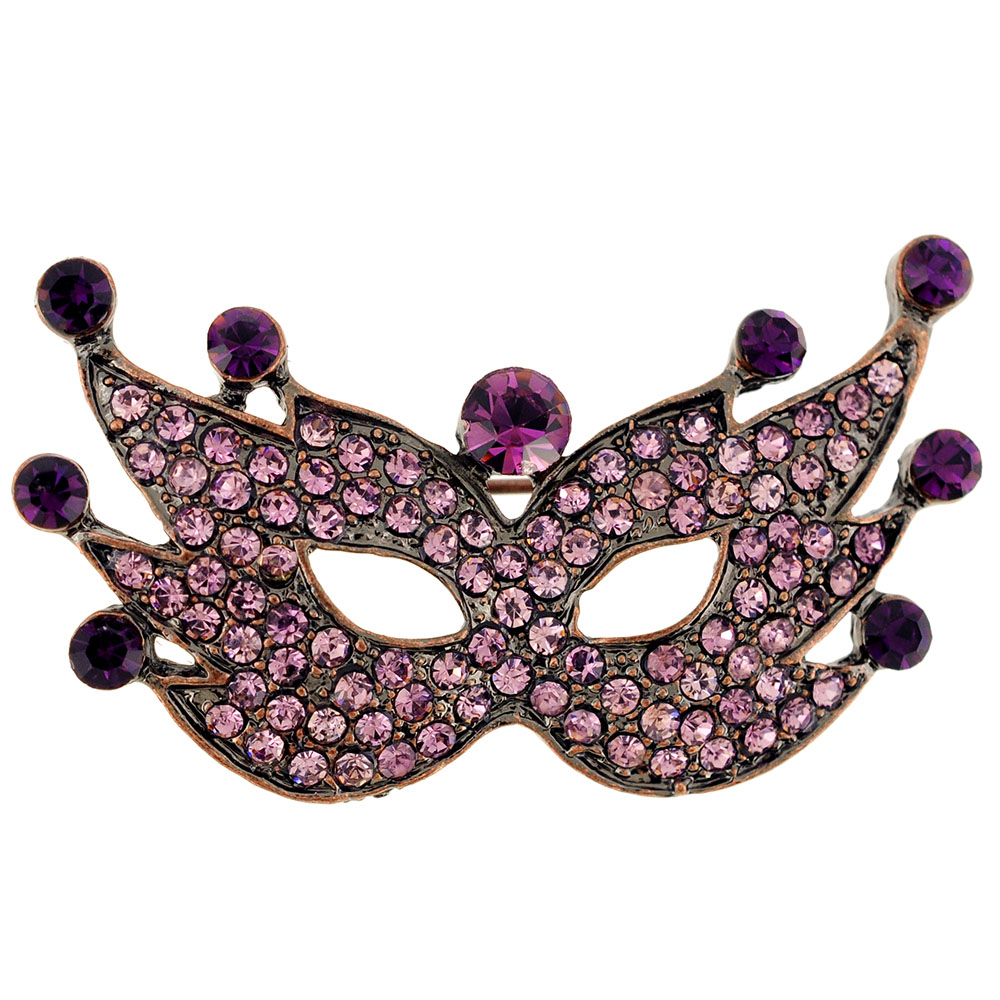 Purple Masquerade Mask Amethyst Crystal Pin Brooch by