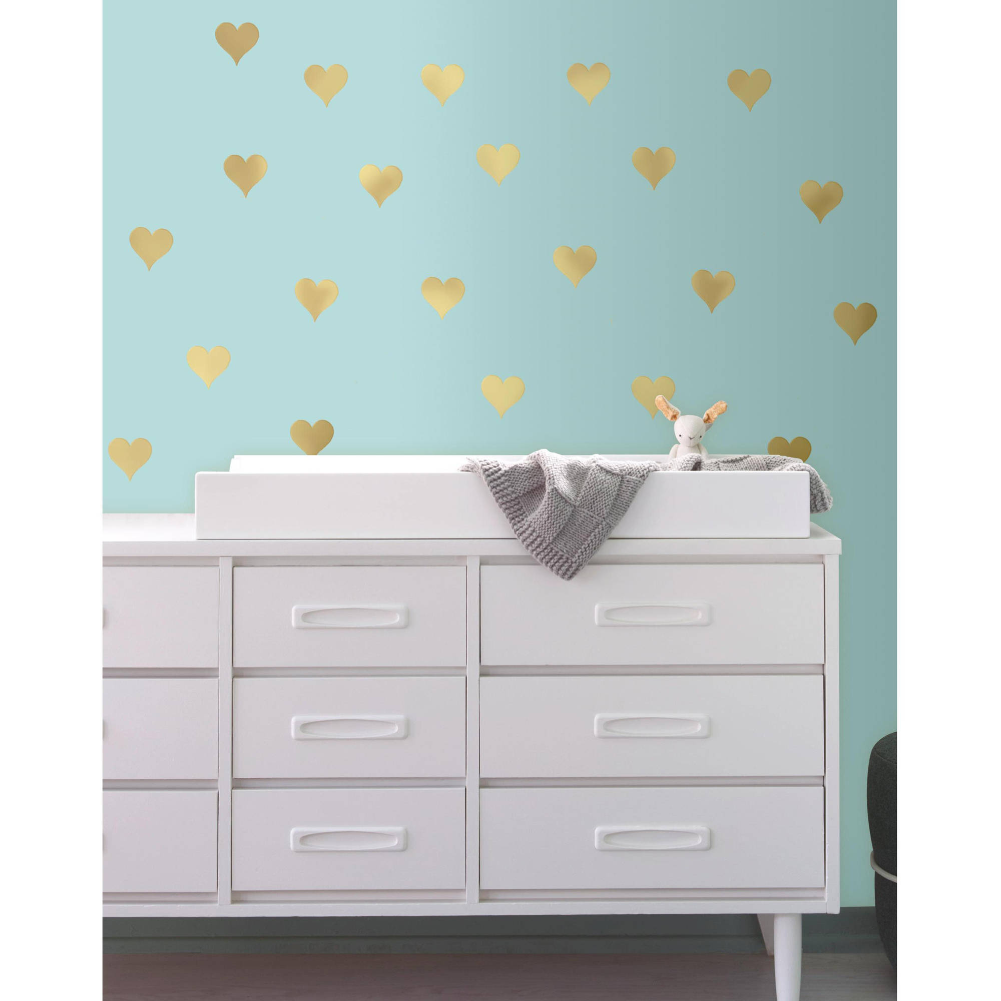 RoomMates Gold Heart Peel and Stick Wall Decals