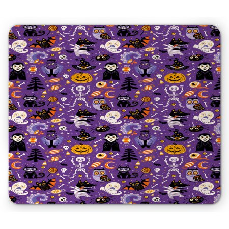 Halloween Vampire Cartoons (Halloween Mouse Pad, Cartoon Design Horror Symbols of Vampire Ghost Skeleton and Candies, Rectangle Non-Slip Rubber Mousepad, Blue Violet and Orange, by)