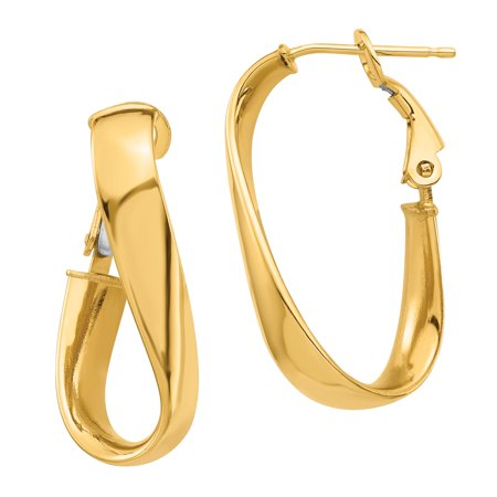 Omega Bezel Earrings (14k High Polished 5mm Twisted Oval Omega Back Hoop)