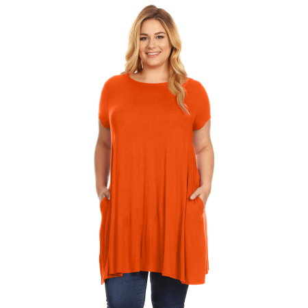 2c26d94a9 Womens Plus Size Short Sleeve T Shirt Dress Trapeze Tunic Dress with  Pockets USA