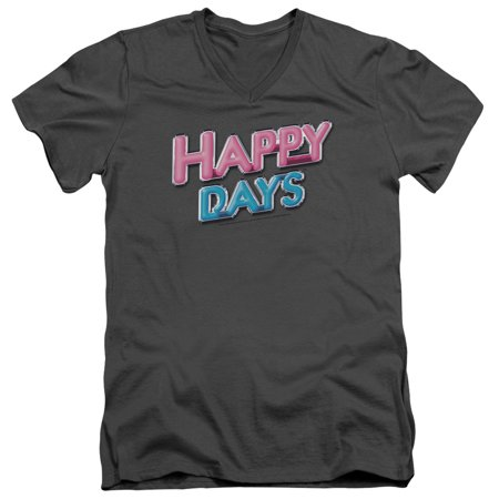 Happy Days 80S Cbs Tv Series Happy Days Logo Adult V Neck T Shirt Tee