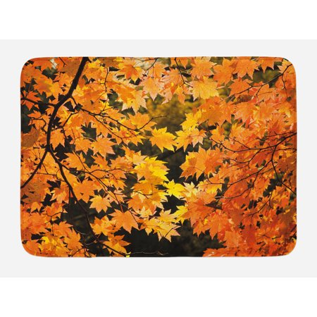 Seasonal Decor (Fall Bath Mat, Vibrant Leaves of Autumn Maple Tree Branches with Sunbeams Seasonal Nature, Non-Slip Plush Mat Bathroom Kitchen Laundry Room Decor, 29.5 X 17.5 Inches, Orange Yellow Brown,)