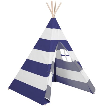 Fun Zone Play Tent - Best Choice Products 6ft Kids Stripe Cotton Canvas Indian Teepee Playhouse Sleeping Dome Play Tent w/ Carrying Bag, Mesh Window - White/Blue