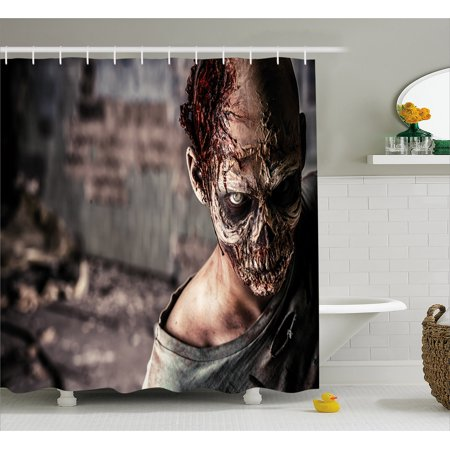 Zombie Shower Curtain Dead Person In Ruined House With Creepy