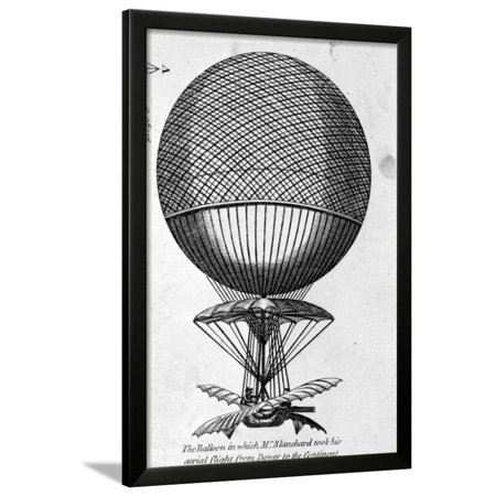 Engraving of Balloon Used by Jean Pierre Francois Blanchard Framed Print Wall - Engraved Balloons