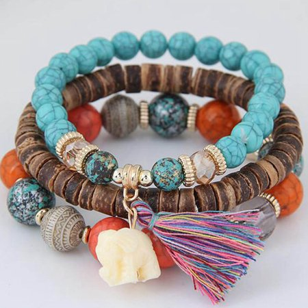 Beaded Elephant - Fancyleo Women 3 Layers Wood Beads Bracelets Boho Small Elephant Bracelets Set Pretty