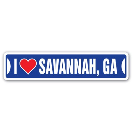 I LOVE SAVANNAH, GEORGIA Street Sign ga city state us wall road décor (Best Haunted Tours In Savannah Ga)