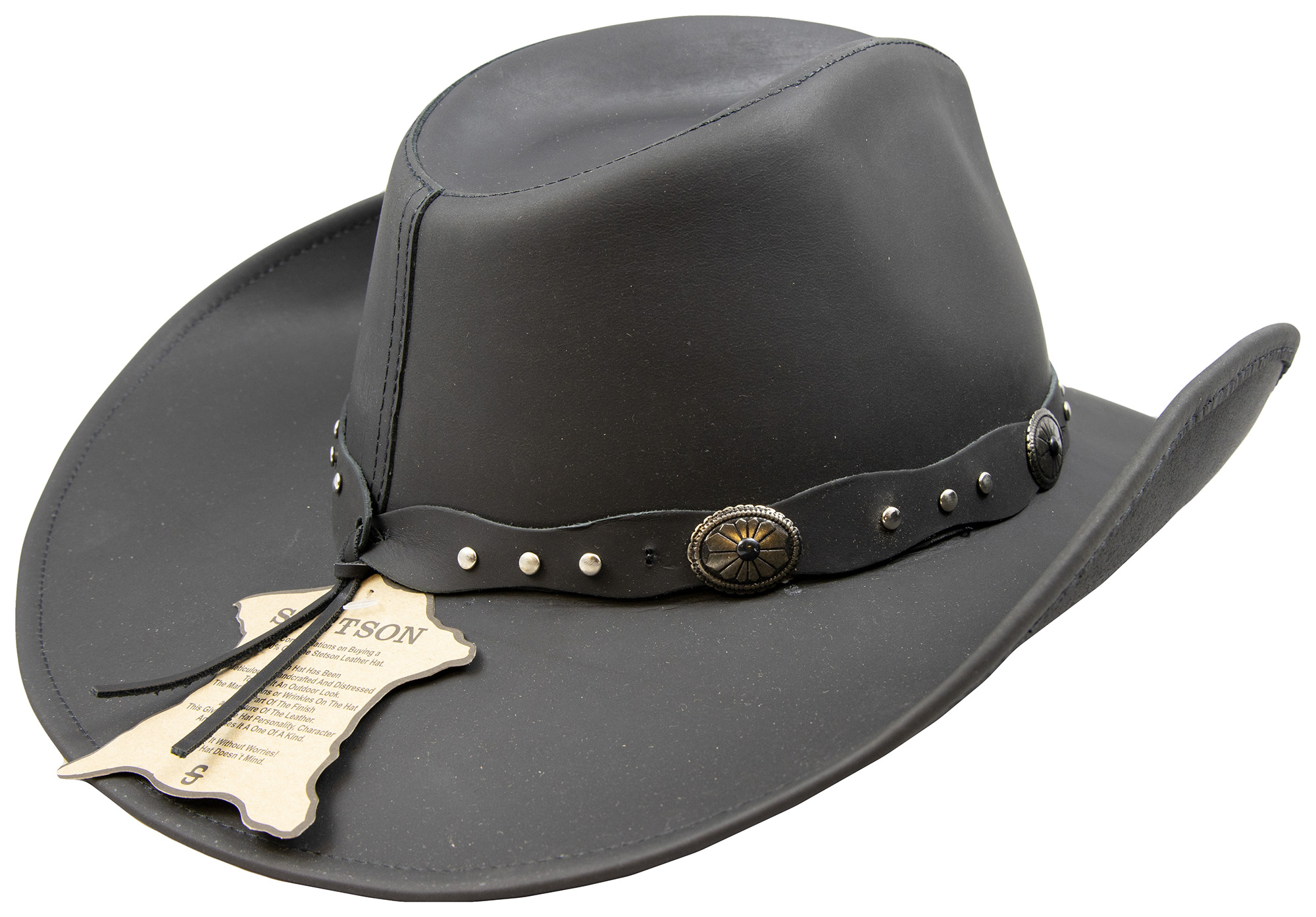Large Stetson Roxbury Black Distressed Shapeable Leather Cowboy Western Hat