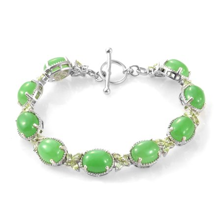 925 Sterling Silver Platinum Plated Oval Dyed Color Green Jade Peridot Butterfly Bracelet For Women 7.25