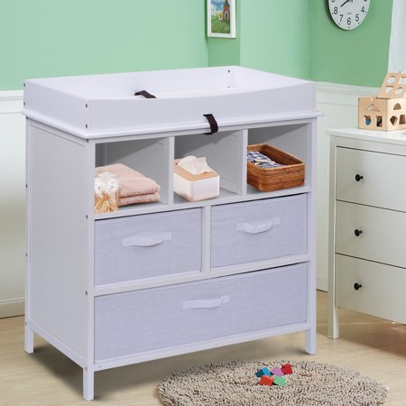 Costway Infant Baby Diaper Station Nursery Furniture Changing Table W 3 Baskets Storage White