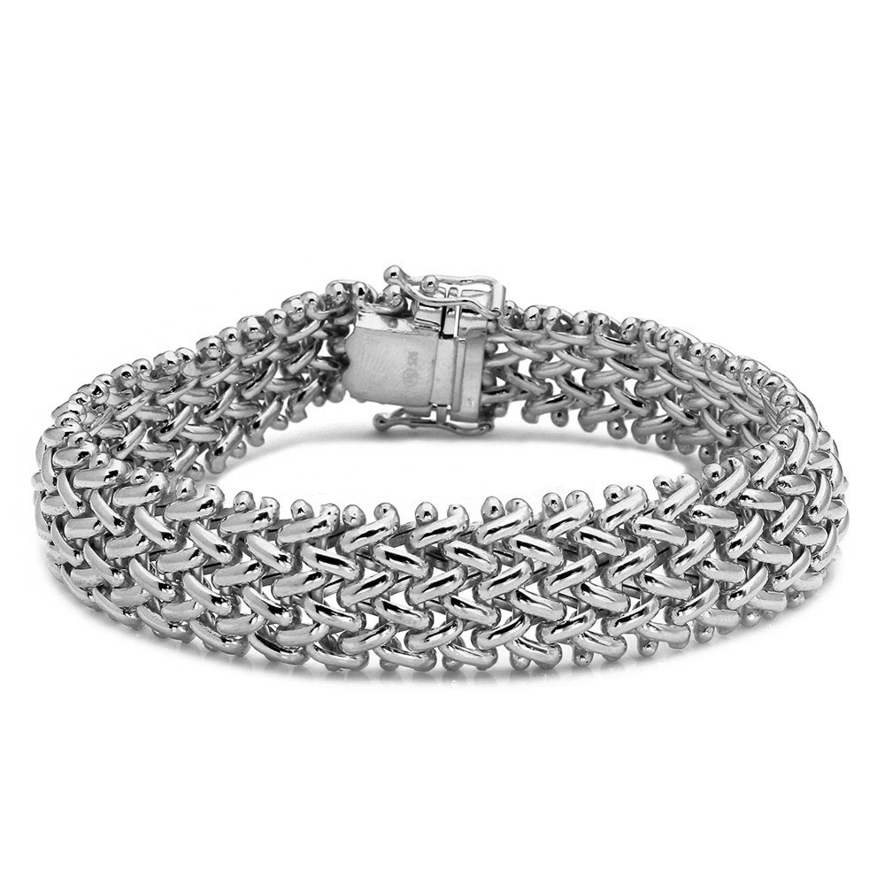All In Stock Rhodium Plated Sterling Silver Braided Bracelet