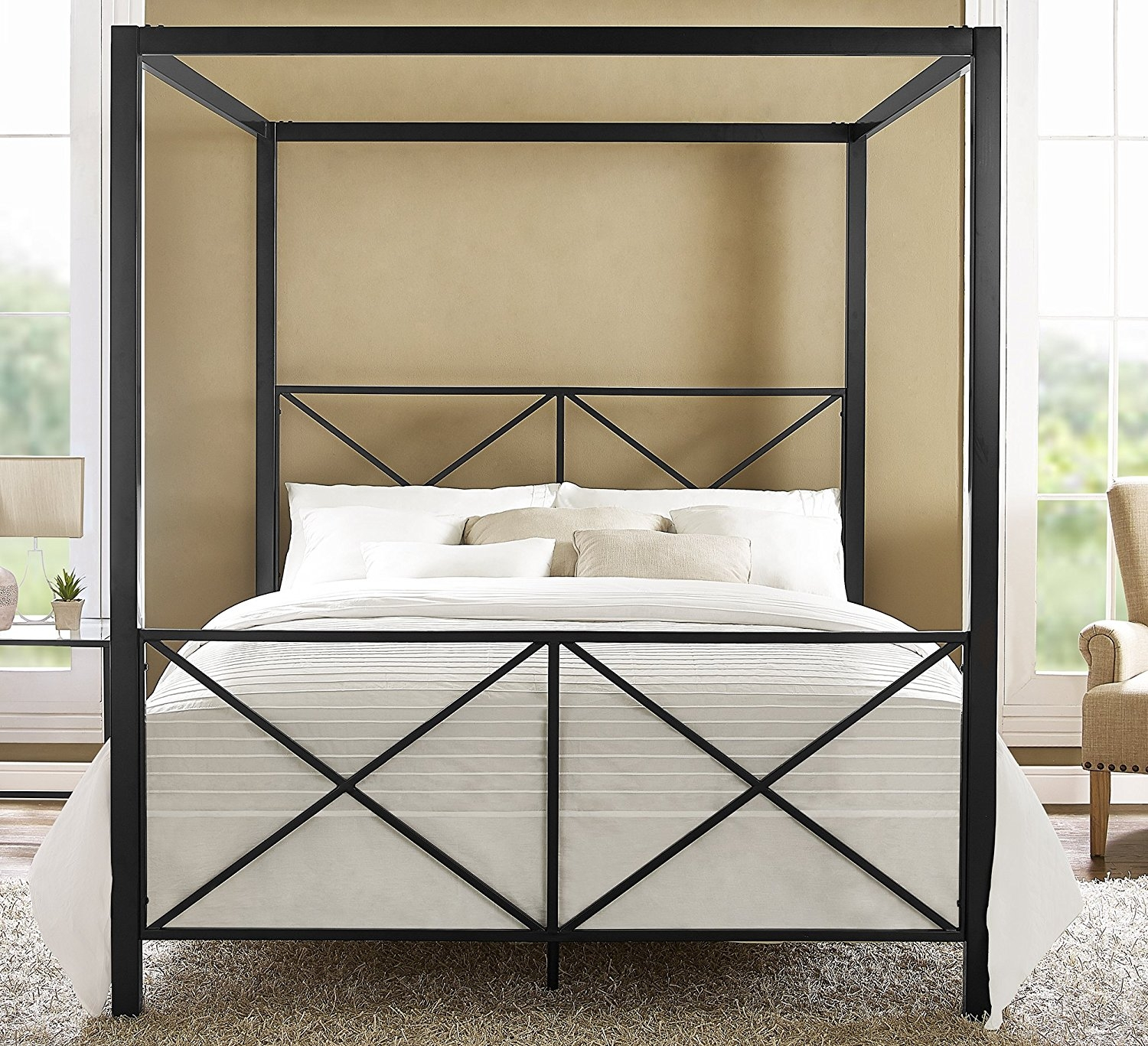 New Great Quality Rosedale Metal Canopy Bed, Queen Size -...