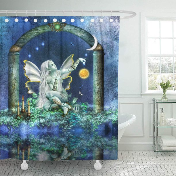 suttom blue fairy fae of sun girl magic enchanted myth shower curtain 66x72 inch