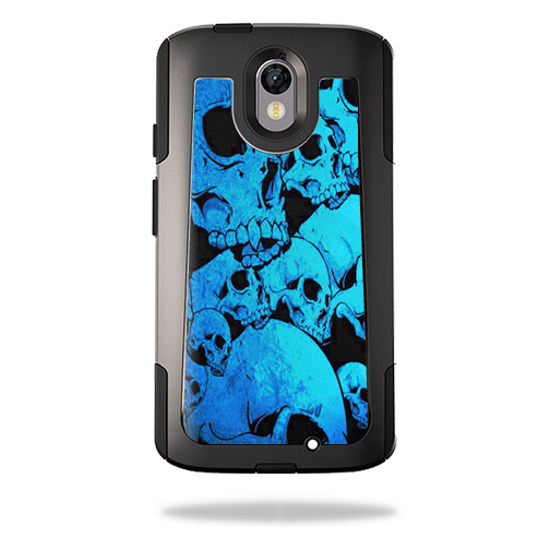 MightySkins Protective Vinyl Skin Decal for OtterBox Commuter Motorola Droid Turbo 2 wrap cover sticker skins Blue Skulls