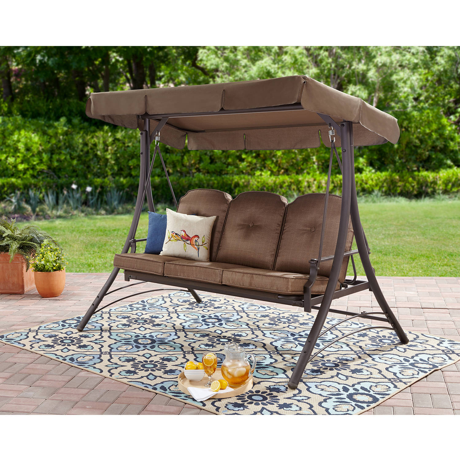 Mainstays Wentworth 3-Person Canopy Cushioned Porch Swing