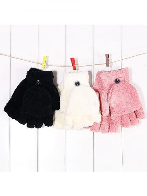 Girl12Queen Women's Fashion Coral Fleece Hand Wrist Warmer Winter Fingerless Soft Gloves