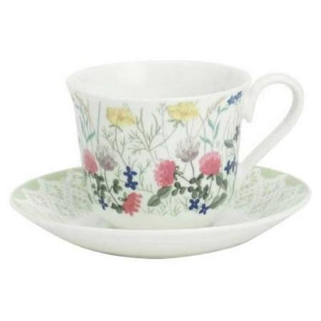 Rose Teacup Set - Roy Kirkham Teacup and Saucer (230 ml) Set of 2 - Nina Campbell English Meadow