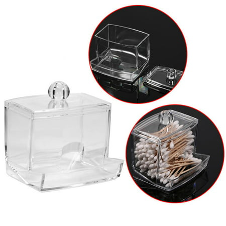 Canister Cotton Ball Holder - VGEBY Cotton Ball and Swab  Storage Holder, Transparent  Cotton Pad Swab Box