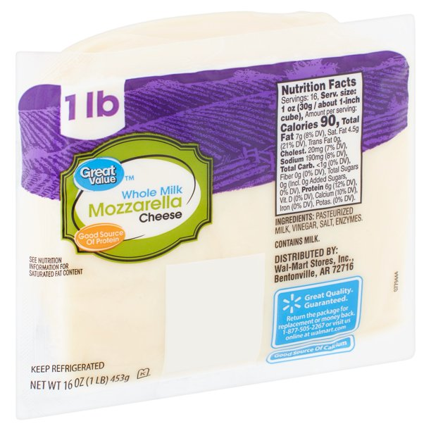 Great Value Whole Milk Mozzarella Cheese, 16 oz