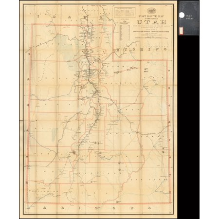 LAMINATED POSTER Post Route Map of The State of Utah Showing Post Offices With the Intermediate Distances on Mail Routes In Operation On the 1st of June, 1899. . . . POSTER PRINT 24 x 36