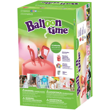 Balloon Time 9.5in Helium Tank Kit, Includes 30 Balloons & Ribbon - Large Helium Tanks